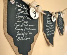 Burlap and Chalk Cloth Wedding Sampler Set - One each Gift Bag, Bottle Bag, Party Favor Bag and Banner. $15.00, via Etsy.