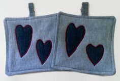 Denim Hearts Upcycled Pot Holders Hot Mat Trivet by debupcycles