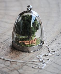 Nudist Miniature diorama pendant necklace by ee333 on Etsy, $135.00