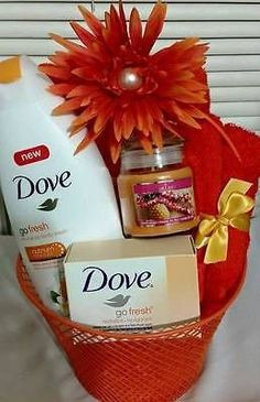 - Dove Body Wash - Dove Bath Bar - Bath and Face Towel - Scented Candle - Bath…