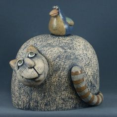 Ceramic Animals, Ceramic Art, Ceramics Projects, Cat Drawing, Cat Art, Great Artists, Concrete, Clay, Bird