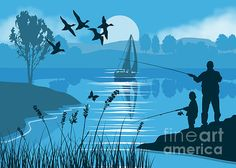 Blue silhouette of a Father & Son Fishing.