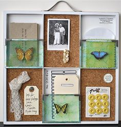printers tray - 4x6 slots with cork and 4x3 glass with butterfly rubbings. 7 gypsies