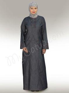 Beautiful Blue Denim Party Wear Abaya   MyBatua.com   Denim Abaya !   Style No: Ay-126   Shopping Link  : http://www.mybatua.com/womens/abaya-1/denim-abaya-96   Available Sizes XS to 7XL (size chart: http://www.mybatua.com/size-chart/#ABAYA/JILBAB)    •Round Neck •Over lapping with Decorative Buttons  •Running Stich Design  •Fabric: Denim  •Care: Dry Clean/ Machine wash