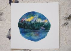 Cabin on the Lake, Watercolor Painting, Pacific Northwest Watercolour Fine Art by SaylorMade on Etsy https://www.etsy.com/ca/listing/514470369/cabin-on-the-lake-watercolor-painting