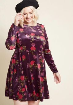 7a5d06caa56a Plus Size Floral Burgundy Long Sleeve Dress - This longer sleeve floral  Mini Dress with a
