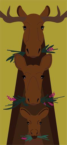 It's a marvelous moose totem!~m  *   Moose Family // Art Print by UrsulaSaysHello on Etsy