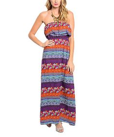 Loving this Purple & Rust Floral Stripe Maxi Dress on #zulily! #zulilyfinds
