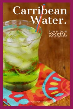 Caribbean Water: A fun Midori cocktail with coconut rum. Holiday Drinks, Summer Drinks, Fun Drinks, Mixed Drinks, Summer Fun, Summer Time, Cosmo Cocktail, Cocktail Drinks, Cocktail Recipes