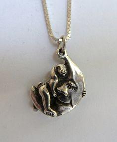 Sterling Silver Bunny Rabbit Hugging Moon by MorganFischerJewelry, $45.00