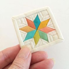 """2"""" X 2"""" micro mini mini quilt...a little gift to pop in my sisters birthday card…"""