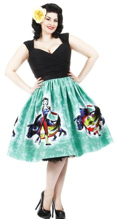 Celebrate the passion and flair of the Spanish bullfight in the Matador Panel Skirt from Pinup Couture! This unique skirt takes it's inspiration from the hand-painted Mexican circle skirts and the deadly dance between bull and Matador. #BlameBetty #PinUp #PinupCouture