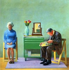 """A similar envision of my parents growing old together. I love how the portrait could look so lovely with its choices of gentle, soft and warm colours. A painting by David Hockney. David Hockney - """"My Parents"""" David Hockney Portraits, David Hockney Paintings, David Hockney Photography, Jasper Johns, Van Gogh Museum, David Hockney Tate, Modern Art, Contemporary Art, William Hogarth"""