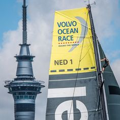 Altitude. Auckland's Sky Tower vs Team Brunel's mast. Photo by Marc Bow / Volvo Ocean Race #volvooceanrace #sailing #auckland - Tomorrow it's In-Port Race time, catch it live at 00.50 UTC/13.50 NZST - Find out how to watch it via the link in our profile!