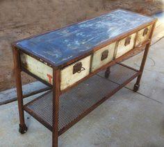 Industrial steel console table with vintage machine shop bins @ Jennifer Price Studio
