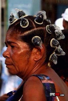 Epic Hairstyle #FAIL #Funny #Lolsx; I don't think that's what these are for...  That's not how it works!