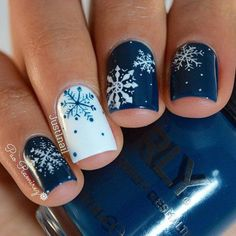 Blue and White Snowflake Manicure - 20 Snowflake Nail Ideas Perfect for a Winter Wonderland - Photos