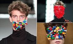Agi & Sam models wear Lego bricks on their WHOLE face at London Collections #DailyMail