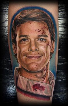 dexter tattoo by billy toler    #billytoler - I wouldn't have done it even though I love him. Still, good work.