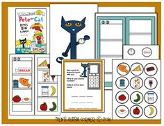Story telling pieces to go along with Pete the Cat Pete's Big Lunch written by James Dean.  (book is not included)   I've included a refrigerator visual where children can help Pete remove each piece of food as he builds his sandwich.  Velcro works well for attaching the food to the refrigerator.