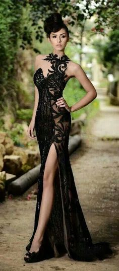 High Neck Black Mermaid Prom Dresses High Slit Applique Bling Bling Evening Gowns ,Prom Dress Long,Lace Prom Dress,Sexy Prom Dress