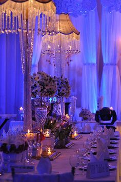 I like the idea of lamps or candelabras on some of the tables :)