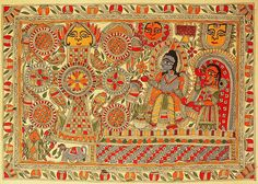 Kohbar - Auspicious Marriage Diagram with Images of Lord Rama and Devi Sita