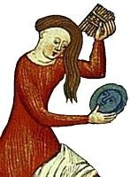 Woman combing her hair, from a 15th century French manuscript by Boccaccio, de Claris Mulieribus.