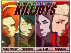 Killjoys - anime style- Party Poison [link] Fun Ghoul [link] Jet Star [link] Kobra Kid [link] Killjoys - The fabulous four Emo Band Memes, Mcr Memes, Music Memes, Emo Bands, Music Bands, Arte Emo, Killjoys, Frank Iero, Black Veil Brides