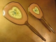 GoldenDaysGoneBy is having a SALE! 20% off all items in the shop!  Vintage Retro Vanity Set Hand Mirror Hair Brush Hearts Love Pink Deco