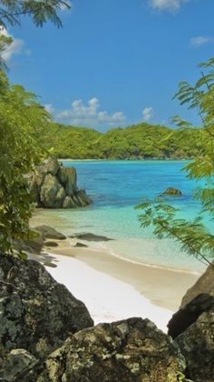 """Ahhh - I have spent time in this little spot - Hope to see it again in 2 months! A """"secret"""" section of beach at Trunk Bay, Saint John, US Virgin Islands National Park! Vacation Places, Dream Vacations, Vacation Spots, Places To Travel, Places To Visit, Italy Vacation, Honeymoon Destinations, Virgin Islands National Park, Us Virgin Islands"""