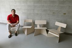 Four Brothers, Minimalist Plywood Chairs by Seungji Mun