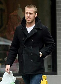 Ryan Gosling with a fantastic black pea coat with white t shirt denim simple and classic fall idea menswear Peacoat Outfit, Mens Peacoat, Black Pea Coats, Mens Winter Coat, Men's Coats And Jackets, Coat Dress, Casual Outfits, Clothes, Ryan Gosling
