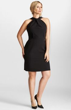 Mynt 1792 Twist Neck Stretch Crepe Cocktail Dress (Plus Size) available at #Nordstrom