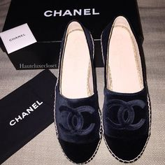 JUST IN!! THIS ITEM HAS BEEN SOLD Chanel Espadrille Navy/Black Velvet Sz 38 (These run small will fit 7.5) Please Email or Dm for price #soldouteverywhere !!
