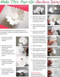 Worksheets: Make a Gerbera Daisy Paper Pop-Up