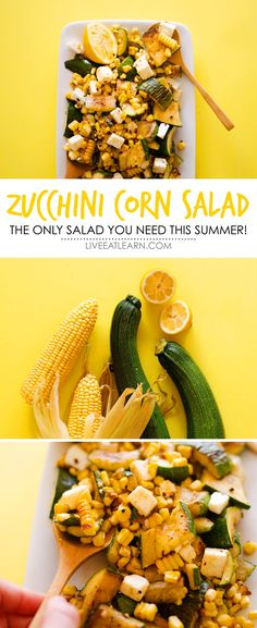 This healthy Zucchini Corn Salad recipe with zingy lemon and feta cheese is so simple yet so perfect. This will become your new summer go-to side dish. Its PACKED with flavor and is a vegetarian salad that's always our family favorite. // Live Eat Learn
