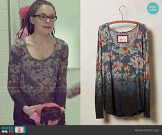 Cosima's floral dip-dyed top on Orphan Black.  Outfit Details: http://wornontv.net/49910/ #OrphanBlack