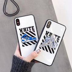 Fashion off Air Jordan AJ1 Tempered Glass Case for iPhone 8 7 6 6S Plus X  XS Max XR Ow white Shoes phone cover Couple coque 7d02341b508