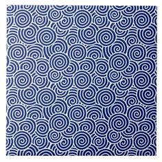 Japanese swirl pattern - navy blue and white Tile