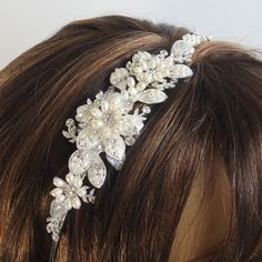 Pearls Flower Bridal Tiara, Bridal Head band, Wedding hair accessories, Bridal Headpieces, Rhinestone hair comb bridal