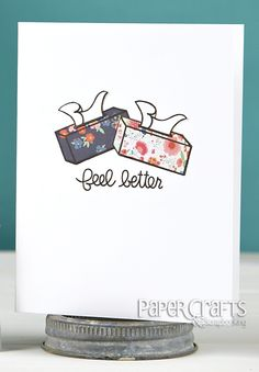 Create a paper pieced design from patterned paper; Laura Bassen - Paper Crafts & Scrapbooking April 2014: card making, get well, stamp