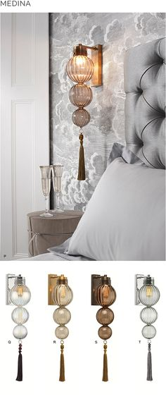 Next Post Previous Post Beautiful bedside lighting from Heathfield & Co Bedside Lighting, Bedroom Lighting, Interior Lighting, Home Lighting, Bedroom Decor, Luxury Lighting, Bedside Wall Lights, Suspended Lighting, Bedroom Furniture