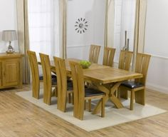 Mark Harris Cheshire Solid Oak 200cm Extending Dining Table with 8 Arizona Brown Chairs