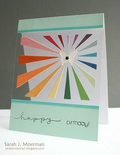 Rainbow burst on clear card