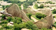 Texas Giant, Six Flags Over Texas, Arlington, Texas, USA. The original all wood version. This was my First Roller Coaster Ride ever.... it took alot of guts at 8yr old it would take 10x that now.