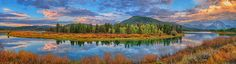 Oxbow Bend Early Autumn Panorama in Grand Teton National Park by Greg Norrell #Tetons #panorama #nature