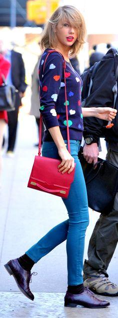 Taylor Swift ; Leaving her apartment building, New York, April 2014 ; Talbots sweater, Hudson jeans, Cole Haan oxfords, J. Mendel bag & Jennifer Meyer Necklace