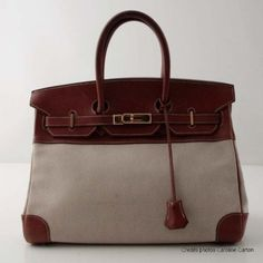 Hermes Birkin bag 35 cm canvas H and Z calf natural Barenia Round year