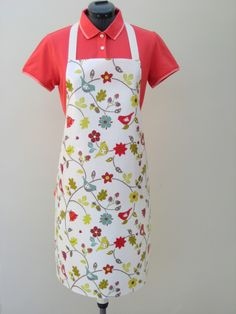 Love Birds in Berry  - Adult PVC Apron, Oilcloth Apron,Waterproof Apron, by OneLeggedGoose on Etsy